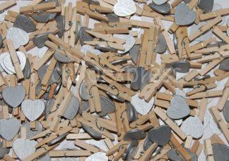 Silver Heart Wooden Pegs celloexpress