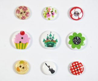 15mm & 20mm Cute & Patterned Wooden Buttons