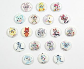 15mm, 20mm & 25mm Wooden Printed Children Buttons